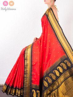 #Red #Katan #Silk #Kadhuan #Brocade #Handwoven #Gadwal #Saree #HolyWeaves
