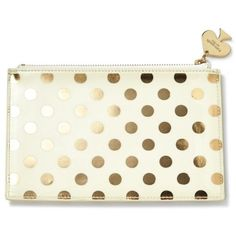 Kate Spade New York Gold Dots Gold Dots Pencil Pouch (88.935 COP) ❤ liked on Polyvore featuring home, home decor, office accessories, gold dots, kate spade pouch, kate spade pencils, gold pencils, dot pens and polka dot pencil case