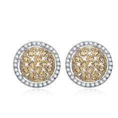 Collette Z Sterling Silver Yellow and Clear Cubic Zirconia Pave Round Earrings (CZ Earrings) Women's