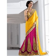 Ecstatic Wedding Embroidery pink  Jacquard Silk Designer Lehenga  comes with yellow Color gota Choli, golden Color Net Dupatta. Comprised with Heavy Zari, resham embroidery with Lace border.This Wedding Lehenga Customized up to 40