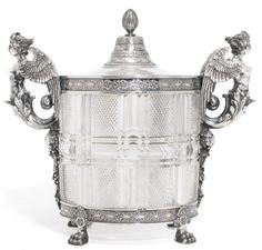 A silver and glass caviar pot or ice bucket, Bolin, Moscow, 1899-1908 | lot | Sotheby's