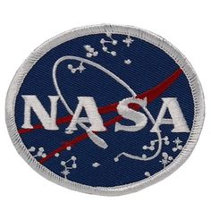 [Single Count] Custom and Unique Inches) Round NASA Space Emblem Logo With Constellations Iron On Embroidered Applique Patch {Blue, White, and Red Colors} Kreis Logo, Nasa Patch, Circular Logo, Scout Badges, Thing 1, Patch Design, Altering Clothes, Sewing Stores, Iron On Patches