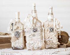 mariann's paper world altered bottle using mod podge Shabby Chic Antiques, Vintage Shabby Chic, Shabby Chic Decor, Vintage Lace, Bottles And Jars, Glass Bottles, Perfume Bottles, Wine Bottle Crafts, Bottle Art