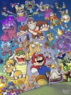 Mario & Luigi 045 Years of Bosses 2011 by TheBourgyMan) Super Mario Bros, Super Mario World, Super Mario Brothers, Super Smash Bros, Totoro, Mario Y Luigi, Images Disney, Paper Mario, Fan Art