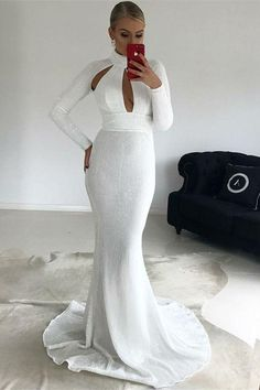 Mermaid High Neck Long Sleeves White Sequined prom dress cg15120