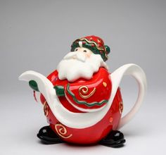 collectible teapots | Fine Porcelain Christmas Figurine Collectible - Santa Teapot