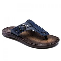 Concise PU Leather and Buckle Design Men's Slippers #men #shoes #fashion #style