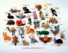 AUSTRALIAN ANIMALS felt magnets - price per 1 item - make your own set - Aussie animals,fridge magnets,cute fridge magnets