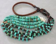 Old Navajo Turquoise Necklace / Pen Shell Heishi & Jaclas Genuine Vintage