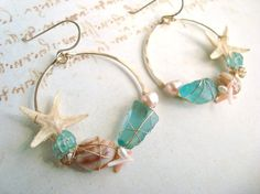 Gold Shell Hoop Earrings Wire Wrapped Gold by BellaAnelaJewelry
