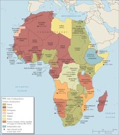 Map showing the decolonization of Africa.