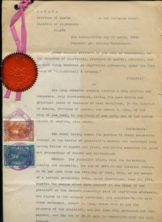 Two Canadian revenue stamps (20c/30c) on the Court judgment document of the providence of Quebec. The document consists of four pages. The document date is 25th Mar 1912 and the Superior Court's seal of Quebec (distric of Saint Francis) is attached to document