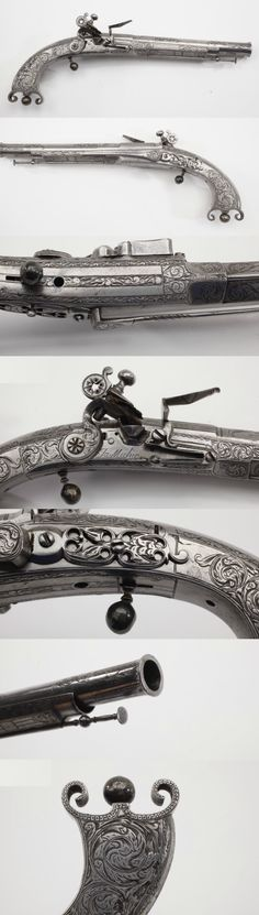James Michie Scottish Metal Flintlock, 1700's .Scottish gunmakers that produced the elegant all-metal flintlock pistol design, was wise enough to include embellishment in the form of extensive fine engraving. This .56 caliber single-shot, made in the mid-18th Century, has a number of subtle features, including a delicate loading rod and a flared muzzle contour. Even the utilitarian belt hook is nicely engraved!