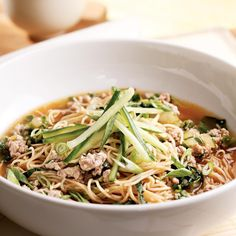 This dish was inspired by Chinese Dan Dan noodles—ground pork and noodles in a spicy broth.