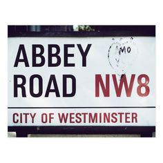 Abbey Road sign photographed in London. Abbey Road is famous for its crossing featured on one of The Beatles' albums. Beatles Albums, The Beatles, Abbey Road, Street Signs, Postcard Size, Invitation Cards, Falling In Love, Smudging, Paper Texture