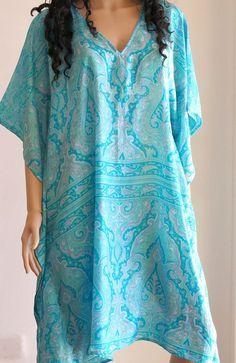 Kaftan Dress Blue Kaftan Caftan Cover up Summer by silkzdesign