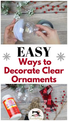 Learn How to Decorate Clear Plastic Christmas Ornaments DIY Tutorial with Glitter, Fabric, Twine, Felt and Ribbon christmas ornaments easy Easy Ways to Decorate Clear Plastic Ornaments for Christmas - Sweet Red Poppy Christmas Ornament Crafts, Christmas Crafts For Kids, Christmas Fun, Holiday Crafts, Dollar Store Christmas, Christmas Cooking, Diy Christmas Gifts Videos, Christmas Eve Box Ideas Kids, How To Decorate Christmas Tree