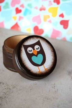 Blue Heart Owl Powder Box