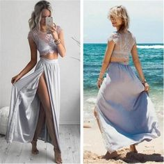 Two Pieces Prom Dresses,Cap Sleeves Prom Dresses,Side Slit Prom Dresses,Cheap…