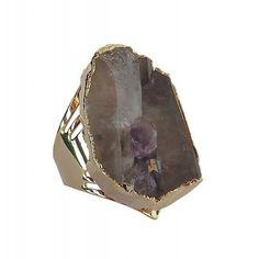 Anel de pedra ágata dourado