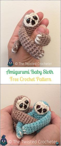 Crochet Amigurumi Baby SlothF ree Pattern-Crochet Sloth Amigurumi Toy Softies Free Patterns