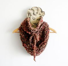 Knitted Scarf Brown Shades Chunky Cowl Triangular by callmemimi, €50.00
