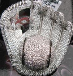 diamond baseball glove pendant;   diamonds are set on over 80 grams of 14k solid white gold.    Diamond Weight38.00 ct   Diamond ClarityVS1   Diamond ColorF-G   CutRound  Price: $32,000.00  Bank Wire Price: $30,400.00  Retail Price: $90,000.00!