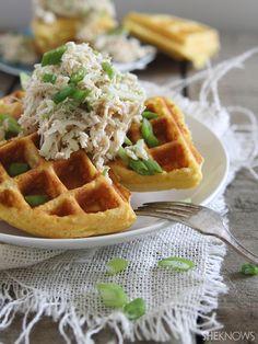 Southern comfort cornbread waffles with shredded chicken apple slaw