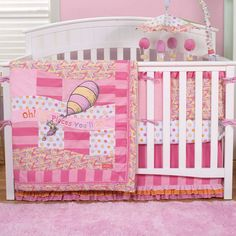 Features:  -Number of pieces: 4.  -Pieces Included: Quilt, fitted crib sheet, crib skirt, and crib bumper.  -Wonderful embroidery is set against a beautiful mix of prints in a charming dot, bold strip