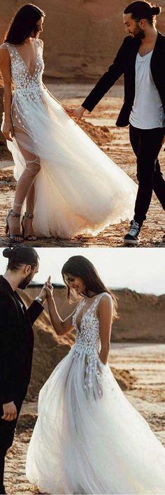 A-Line Deep V-Neck Tulle Wedding Dress with Appliques Split WD245 #weddingdress #wedding #dress #tulle #beachwedding #pgmdress #split #laceapplique