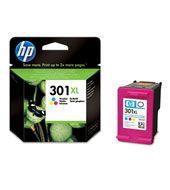 Cartucho de tinta tricolor HP 301XL  Los cartuchos de tinta tricolor HP 301XL están diseñados para desarrollar unas funciones intuitivas y un rendimiento fiable. Imprima con facilidad documentos en colores vivos, informes y cartas a un precio muy asequible. PVP: 24,50 €