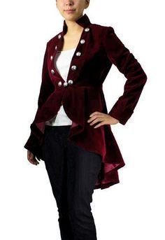 Burgundy Steampunk Coat Plus size