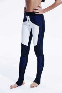 Stellar Leggings in Combo- Modern and sleek design, these panels are strategically placed to offer a slimming effect that flatters you in all the right places. Pleated detail at knee with stirrup bottom. No matter where you are this pair's got you covered.  #sportswear #activewear