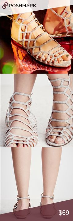 New Sold by Free People Schutz Dressy Sandal Brazilian made strappy sandals featuring allover sparkly glitter. Adjustable ankle strap and leather soles. Schutz for Free People Silver in color  Glitter Sole: Rubber Lining: Leather Made in Brazil Free People Shoes Sandals