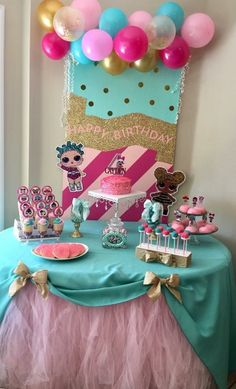 LOL Surprise Dolls B LOL Surprise Dolls Birthday Party - Lovely pastel colors. Girl Birthday Themes, 9th Birthday Parties, Bday Girl, Surprise Birthday, Girl Themes, 7th Birthday, Lol Birthday Cake, Birthday Ideas, Moana Birthday