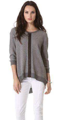 leather mix sweatshirt / wilt