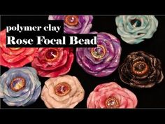 How To Create A Rose Focal Bead with Polymer Clay , jewelry tutorial Polymer Clay Canes, Polymer Clay Flowers, Polymer Clay Projects, Polymer Clay Creations, Metal Clay Jewelry, Polymer Clay Jewelry, Biscuit, Turtle Soup, Clay Videos
