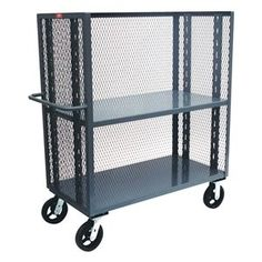 Stock Cart With 3-Sides, Steel by Jamco. $808.88. 3-Sided Stock Cart, Load Capacity 3000 lb., Number of Shelves 3Overall Length 48 In., Overall Width 24 In., Overall Height 57 In.Caster Type (2) Swivel, (2) Rigid, Construction Steel, Gauge 12, Powder Coat Finish, Mesh Size 48 In.Caster Material PhenolicCaster Width 6 In., Color Gray