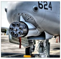 30mm GAU-8 Avenger automatic cannon.  3900 depleted-uranium rounds per minute (70 rounds per second).  Mounted aboard a Warthog A-10 aircraft (2003).