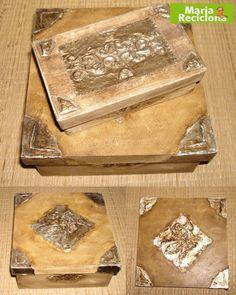 Caixa reciclada com apliques de latonagem 2 by Maria Reciclona, via Flickr