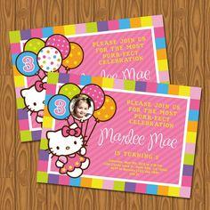 Hello Kitty Girl's Birthday Party Invitations.