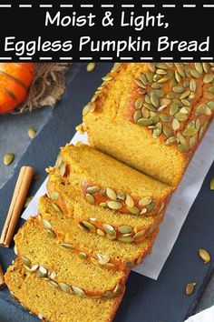 This eggless pumpkin bread is moist and delicious and a cinch to make. Here's a step by step recipe for an eggless, easy pumpkin bread recipe from scratch. Pumpkin Loaf, Moist Pumpkin Bread, Pumpkin Dessert, Canned Pumpkin, Healthy Pumpkin, Pumpkin Recipes, Fall Recipes, How To Make Pumpkin, Eggless Baking