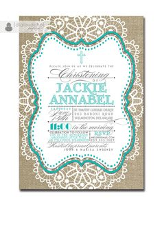 Baptism Invitation Lace Burlap Tiffany Blue by digibuddhaPaperie, $23.00