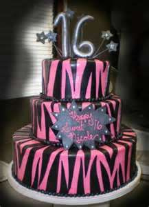 Tier Cake Has Hot Pink Buttercream Icing With Black Fondant Zebra