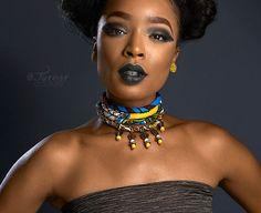 Yellow Wood Bead Ankara Choker Necklace- Dangling African Necklace - Short Multistrand Ankara Necklace -