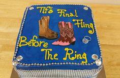 Bridal shower cake.  Cowboy cowgirl cake