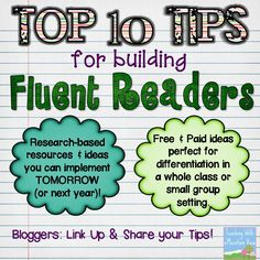 10 Tips for Building Fluent Readers Teaching With a Mountain View: Top 10 Tips for Building Fluent Readers + Link Up!Teaching With a Mountain View: Top 10 Tips for Building Fluent Readers + Link Up! Reading Resources, Reading Strategies, Reading Activities, Reading Skills, Teaching Reading, Reading Comprehension, Guided Reading, Reading Lessons, Speed Reading