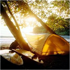 tents, sea and light