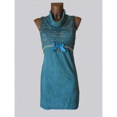 edles Kleid Tunika Long Shirt Roll Kragen Kette Batik ärmellos,