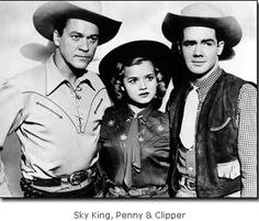 """""""Sky King"""" one of the contemporary westerns of the 1950's, starred a twin engine Cessna called """"the Songbird"""" along with the living cast of Kirby Grant as Sky King and his niece and nephew, played by Gloria Winters and Ron Hagerthy.  Sky King ended up as weekend fair on NBC, CBS and ABC after it's original run in prime time during the 1953-54 season.  This is a series which also ran on network radio from 1946 to 1954.  Sponsor: Nabisco."""